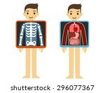 two illustrations of cute... | Shutterstock .eps vector #296077367