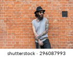 young tattooed man portrait... | Shutterstock . vector #296087993