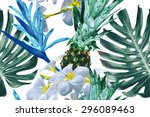 tropical flowers  jungle leaves ... | Shutterstock .eps vector #296089463