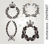 set of crown and laurel wreath...   Shutterstock .eps vector #296098607