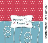 nautical card with ropes and... | Shutterstock .eps vector #296104007