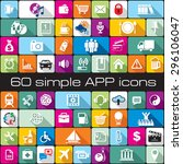 set vector simple icons for app ... | Shutterstock .eps vector #296106047