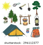 attributes for camping  yellow ... | Shutterstock . vector #296112377