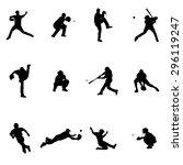 Baseball Set Of Twelve Black...