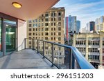 luxury unfurnished balcony with ... | Shutterstock . vector #296151203