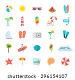 summer icons set with beach... | Shutterstock .eps vector #296154107