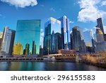 chicago skyline and the loop... | Shutterstock . vector #296155583