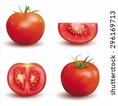 ripe red tomatoes isolated on... | Shutterstock .eps vector #296169713