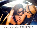 young couple on road trip.young ... | Shutterstock . vector #296172413