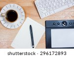 omputer gadget is in the office ... | Shutterstock . vector #296172893