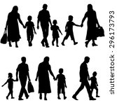 black silhouettes family on... | Shutterstock .eps vector #296173793