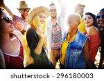 teenagers friends beach party... | Shutterstock . vector #296180003