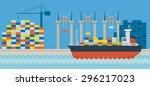 Ship Port Cargo  Side View   ...