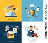 translator design concept set... | Shutterstock .eps vector #296220563