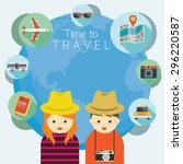 couple tourist with traveling... | Shutterstock .eps vector #296220587