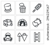 chimney and heating coal icons... | Shutterstock .eps vector #296229167