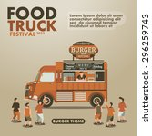 food truck festival poster with ... | Shutterstock .eps vector #296259743