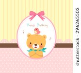 happy birthday   pink ribbon ... | Shutterstock .eps vector #296265503