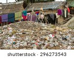 laundry drying under a large... | Shutterstock . vector #296273543