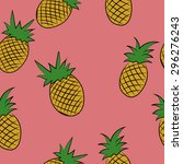 pineapple hand drawn colored... | Shutterstock .eps vector #296276243