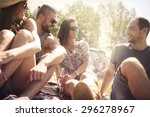 friends in good mood on camping  | Shutterstock . vector #296278967