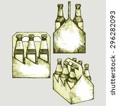 beer six pack in three boxes.... | Shutterstock .eps vector #296282093