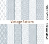 set of nine seamless pattern in ... | Shutterstock .eps vector #296286503