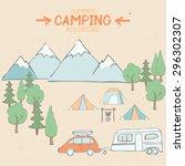 camping  adventure  travel.... | Shutterstock .eps vector #296302307