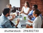 group of multi ethnic business... | Shutterstock . vector #296302733