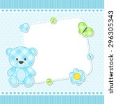 card with blue teddy bear for... | Shutterstock .eps vector #296305343