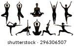 silhouette yoga poses on white  ... | Shutterstock . vector #296306507