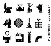 Sewerage Icons. Plumbing And...