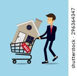 businessman buy house   vector... | Shutterstock .eps vector #296364347