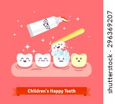 tooth hygiene icon set. cute ... | Shutterstock .eps vector #296369207