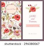 wedding invitation template | Shutterstock .eps vector #296380067
