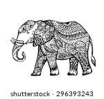 vector of elephant in zentangle ... | Shutterstock .eps vector #296393243