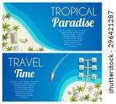 sunny summer beach horizontal... | Shutterstock .eps vector #296421287