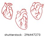 red human hearts in outline... | Shutterstock .eps vector #296447273