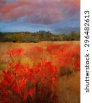 Oil Painting Autumn Fields And...