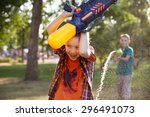 boys having fun playing with... | Shutterstock . vector #296491073