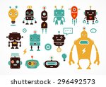 robot cute icons and characters | Shutterstock .eps vector #296492573