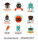 robot cute icons and characters | Shutterstock .eps vector #296492597