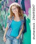 stylish slim girl with... | Shutterstock . vector #296493047