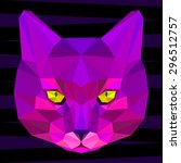 Abstract Geometric Cat Portrai...
