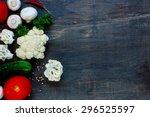 farm fresh vegetables  herbs... | Shutterstock . vector #296525597