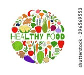 set of healthy vegetarian food. ... | Shutterstock .eps vector #296569553