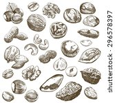 Various Kinds Of Nuts  Set Of...