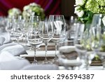elegant dinner table setting in ... | Shutterstock . vector #296594387