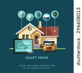 smart home. flat design style... | Shutterstock .eps vector #296608013