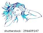 girl with headphones | Shutterstock .eps vector #296609147